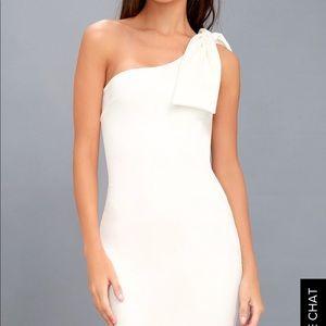 Lulu's White One Shoulder Bodycon Dress